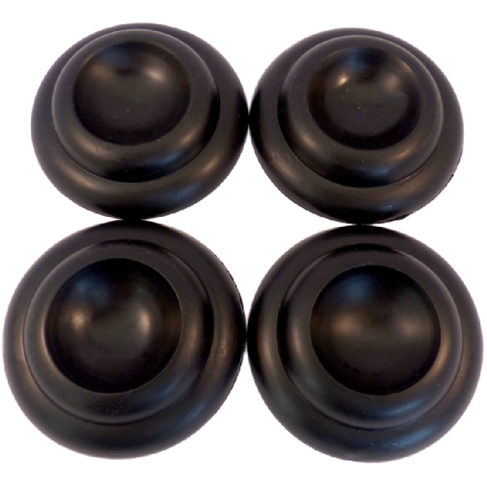 Castor Cups Black Plastic  8cm - set of 4